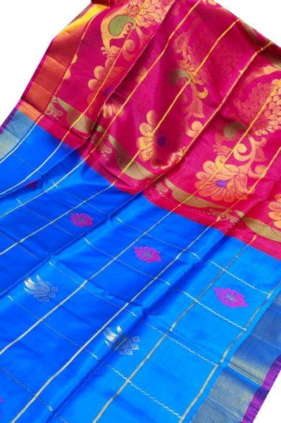 Blue and pink uppada all over checks, rich pallu saree