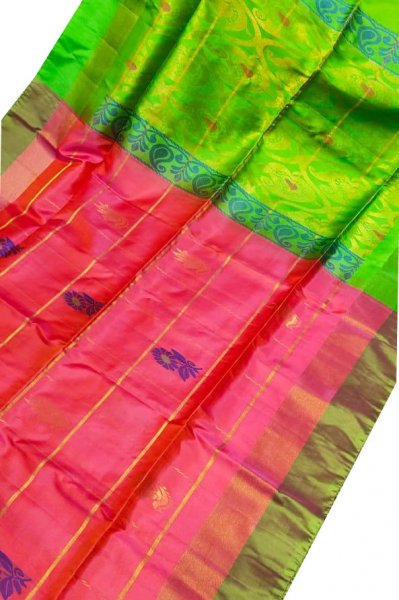 Rose pink and green uppada all over checks, rich pallu saree