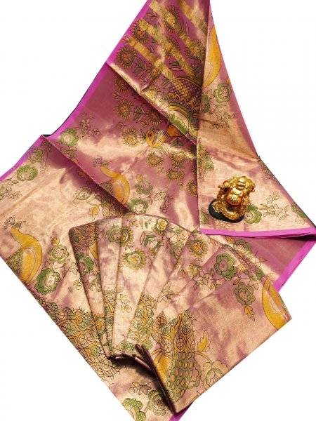 Onion pink, Green and Yellow uppada tissue cotton print saree