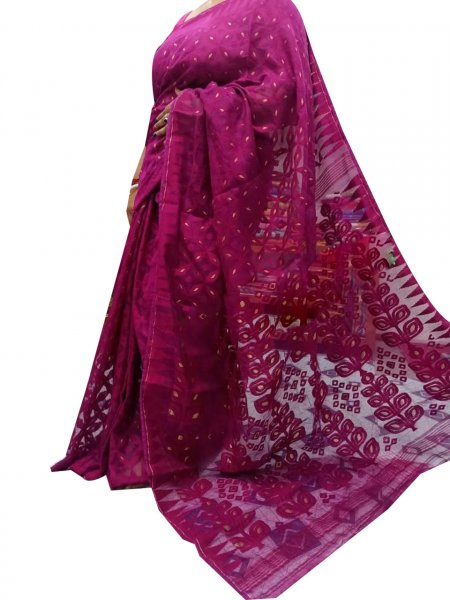 Purple dhakai jamdani high quality saree
