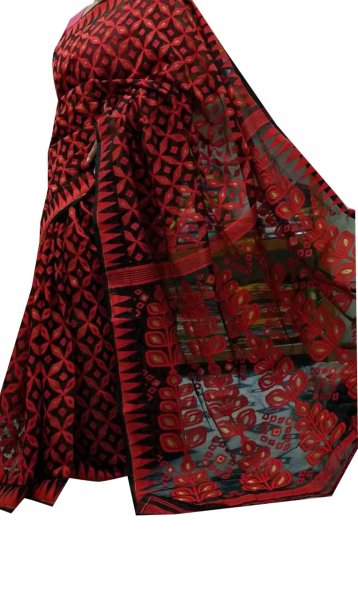 Black and red dhakai jamdani high quality saree