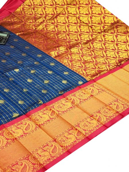 Blue and Red chanderi kanchi kuppadam all over butta saree
