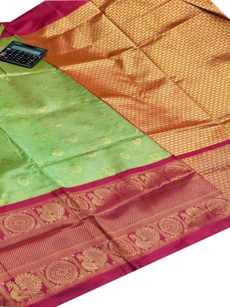 Sea green chanderi kanchi kuppadam all over butta saree