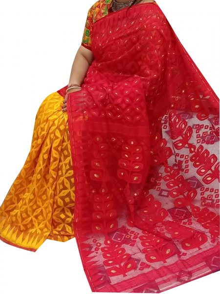 Yellow and red dhakai jamdani high quality saree