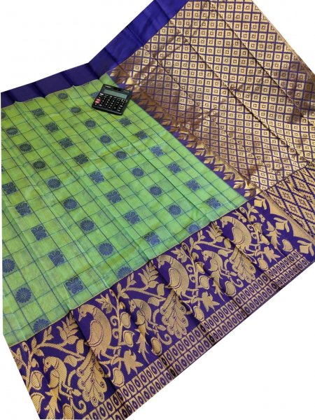 Green and blue chanderi kanchi kuppadam all over butta saree