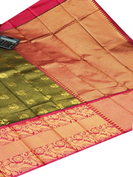 Deep green and maroon chanderi kanchi kuppadam all over butta saree