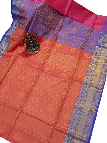 Red and Blue kora silk saree with kuppatam border