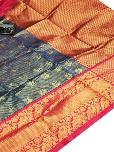 Blue and Maroon chanderi kanchi kuppadam all over butta saree