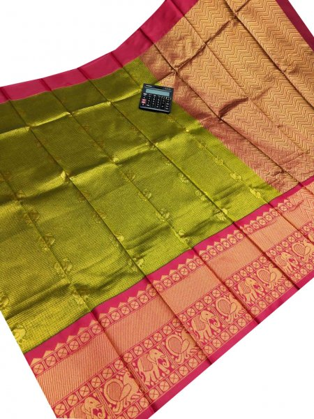 Green and Deep pink chanderi kuppadam all over butta saree