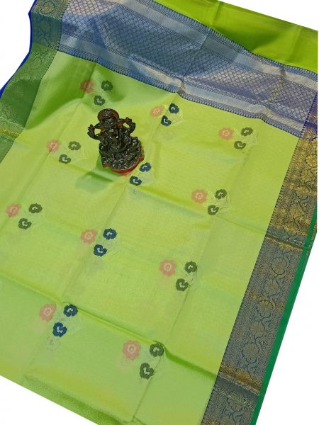 Lime green and silver kora silk saree with kuppatam border