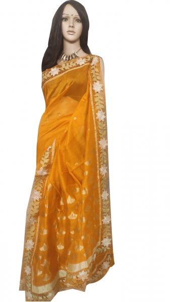 Orange pure silk cut work saree with blouse piece