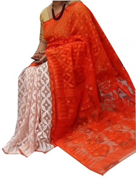 White and orange dhakai jamdani high quality saree