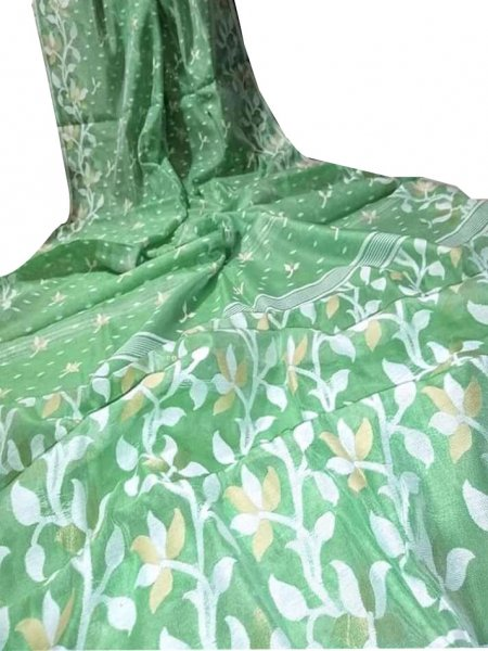 Green and white dhakai jamdani saree without blouse piece