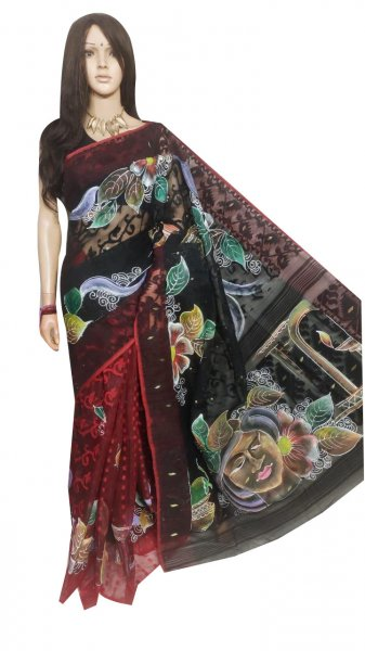 Black , Maroon and mix color hand painted full body work jamdani silk saree