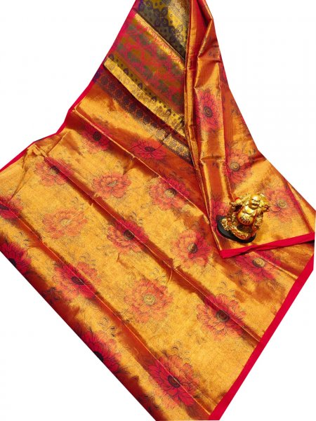 Golden yellow, pink and Brown uppada tissue cotton print saree
