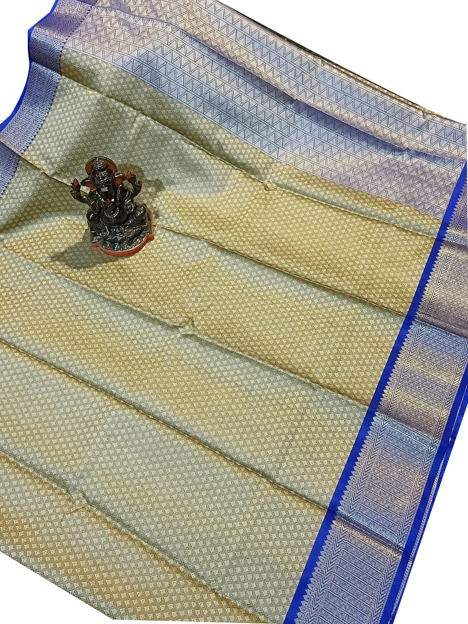 Gray,blue and flax yellow kora silk saree with kuppatam border