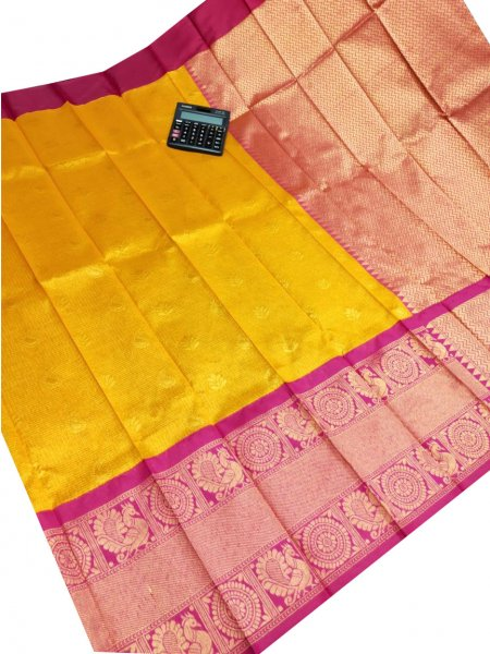 Yellow chanderi kanchi kuppadam all over butta saree