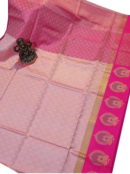 Onion pink and Rose pink kora silk saree with kuppatam border