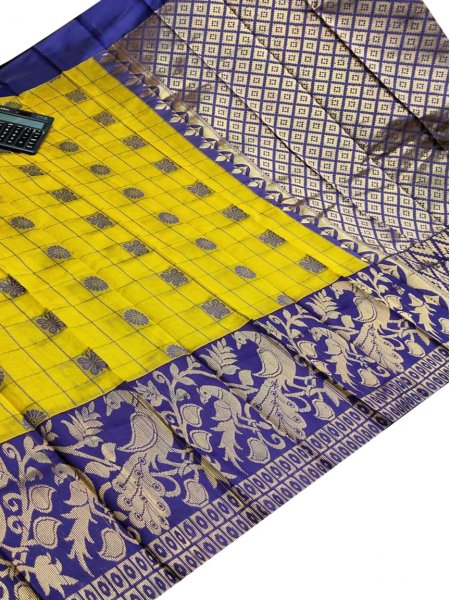Mustard yellow and blue chanderi kanchi kuppadam all over butta saree