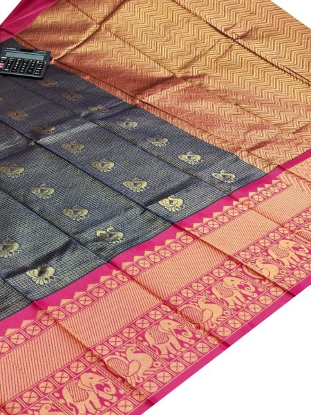Gray chanderi kanchi kuppadam all over butta saree