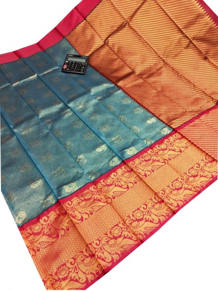 Greenish Blue and red chanderi kanchi kuppadam all over butta saree