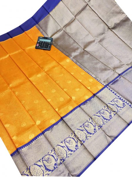 Orange and blue chanderi kanchi kuppadam all over butta saree