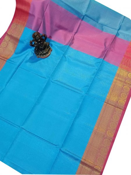 Blue, Pink and Red kora silk saree with kuppatam border