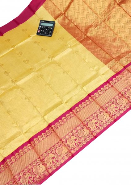 Light yellow chanderi kanchi kuppadam all over butta saree