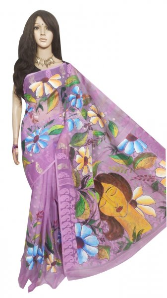 Purple and multi colored hand painted full body work jamdani silk saree