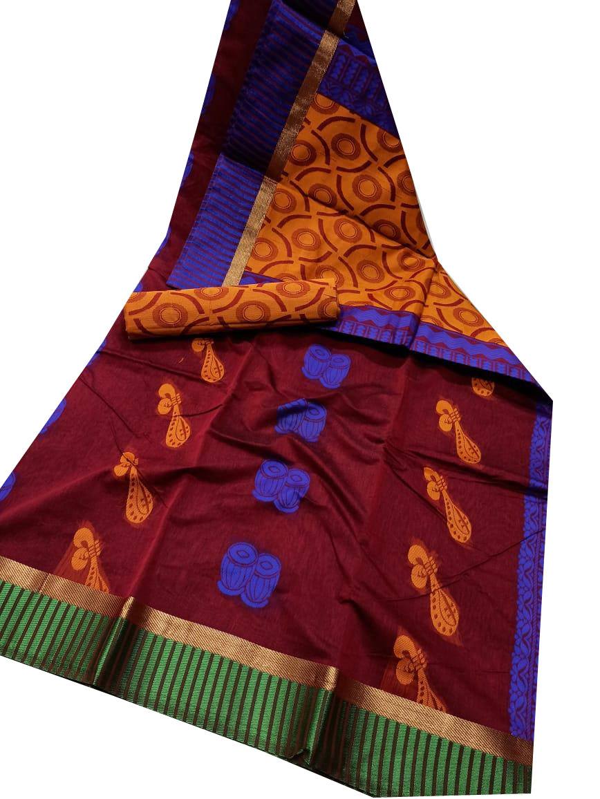 Maroon, mustard yellow and blue chanderi kuppadam border, butta modal saree