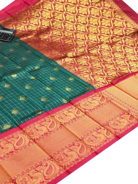Green and red chanderi kanchi kuppadam all over butta saree