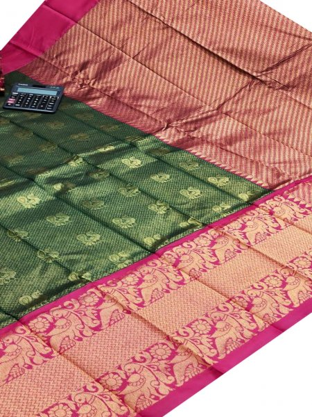 Deep green and pink chanderi kanchi kuppadam all over butta saree