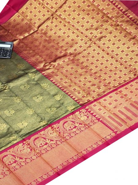 Sage green and maroon chanderi kanchi kuppadam all over butta saree