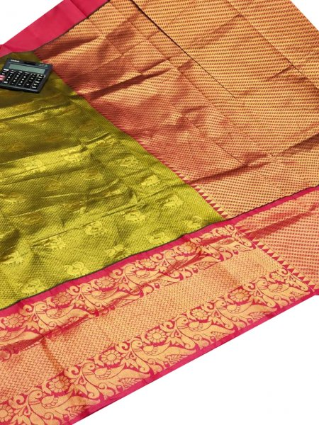 Lime green and maroon chanderi kanchi kuppadam all over butta saree