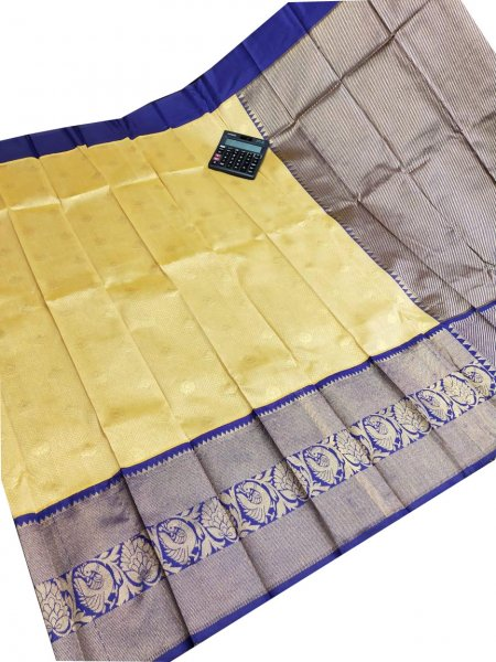 Cream and blue chanderi kanchi kuppadam all over butta saree