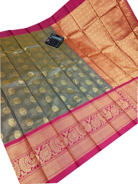Gray and maroon chanderi kanchi kuppadam all over butta saree