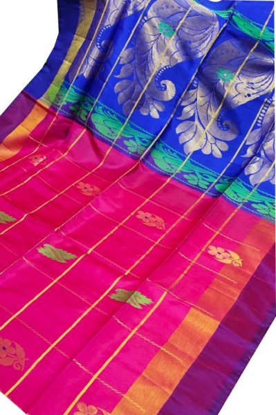 Rose pink and blue uppada all over checks, rich pallu saree