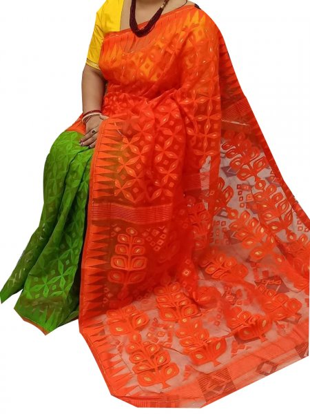 Green and orange dhakai jamdani high quality saree