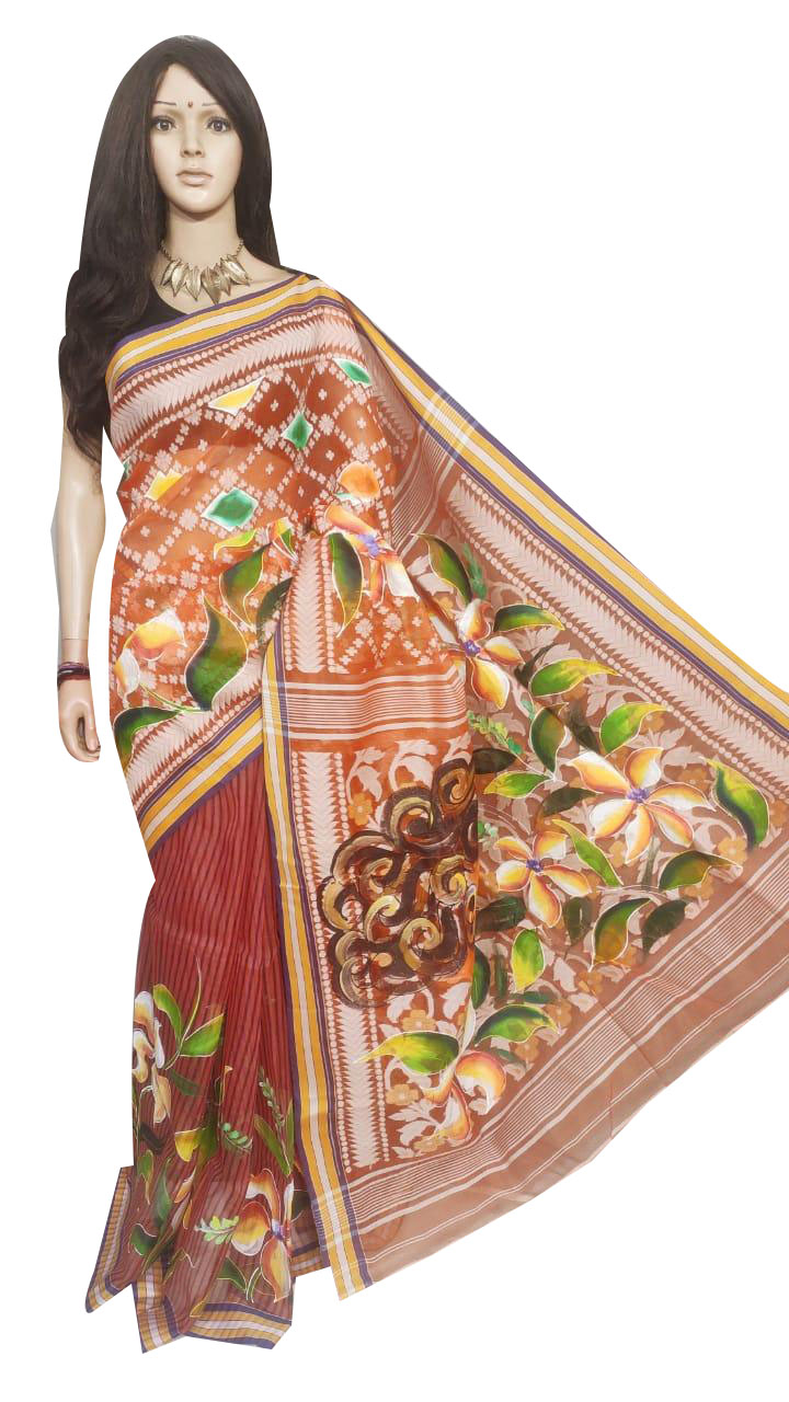 Maroon and mix colored hand painted full body work jamdani silk saree