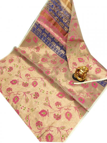Golden, pink and Blue uppada tissue cotton print saree