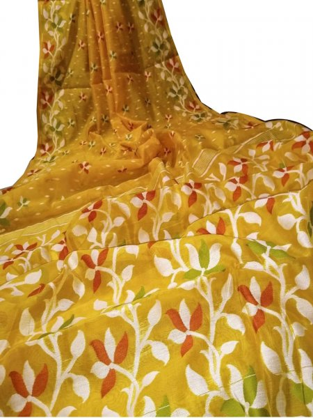 Yellow dhakai jamdani saree without blouse piece