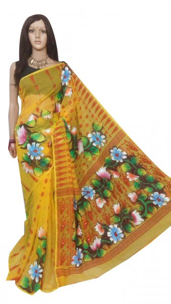 Yellow and multi colored hand painted full body work jamdani silk saree