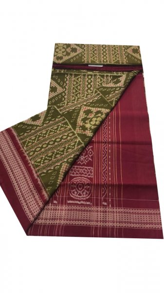 Green and pink Sambalpuri cotton saree
