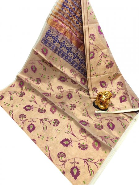 Cream, purple and Blue uppada tissue cotton print  saree
