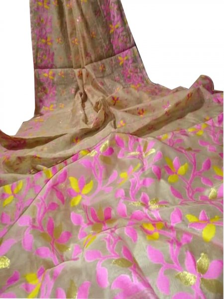 Cream, Yellow and Pink dhakai jamdani saree without blouse piece
