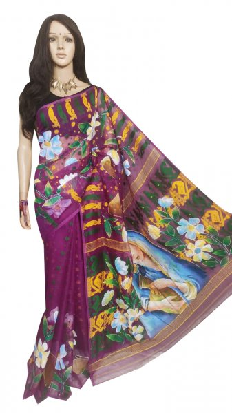 Deep pink, Yellow and green hand painted full body work jamdani silk saree