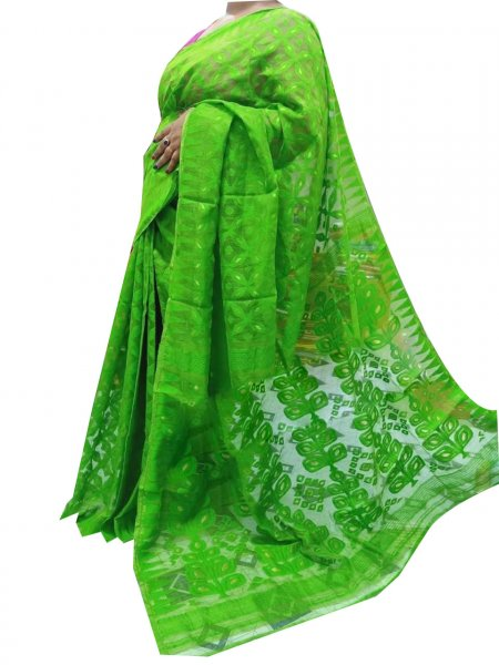 Green dhakai jamdani high quality saree