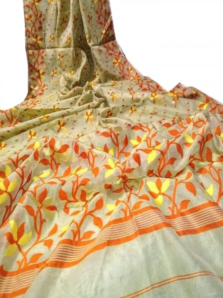 Cream, Orange and Yellow dhakai jamdani saree without blouse piece