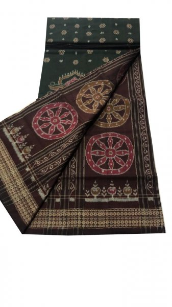 Deep green and purple sambalpuri cotton saree