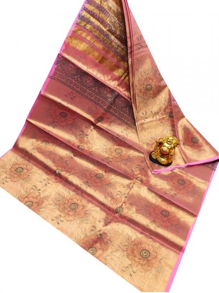Golden, Pink and Black uppada tissue cotton print saree